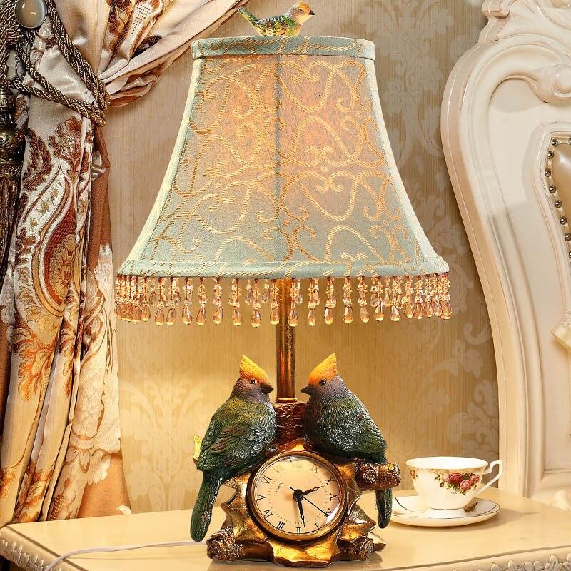 YOOK 33*48 CM cristal gland vert oiseau Statue résine lampe de Table américain lampe de Table jardin chambre lampe de Table 220 V 110 V E27