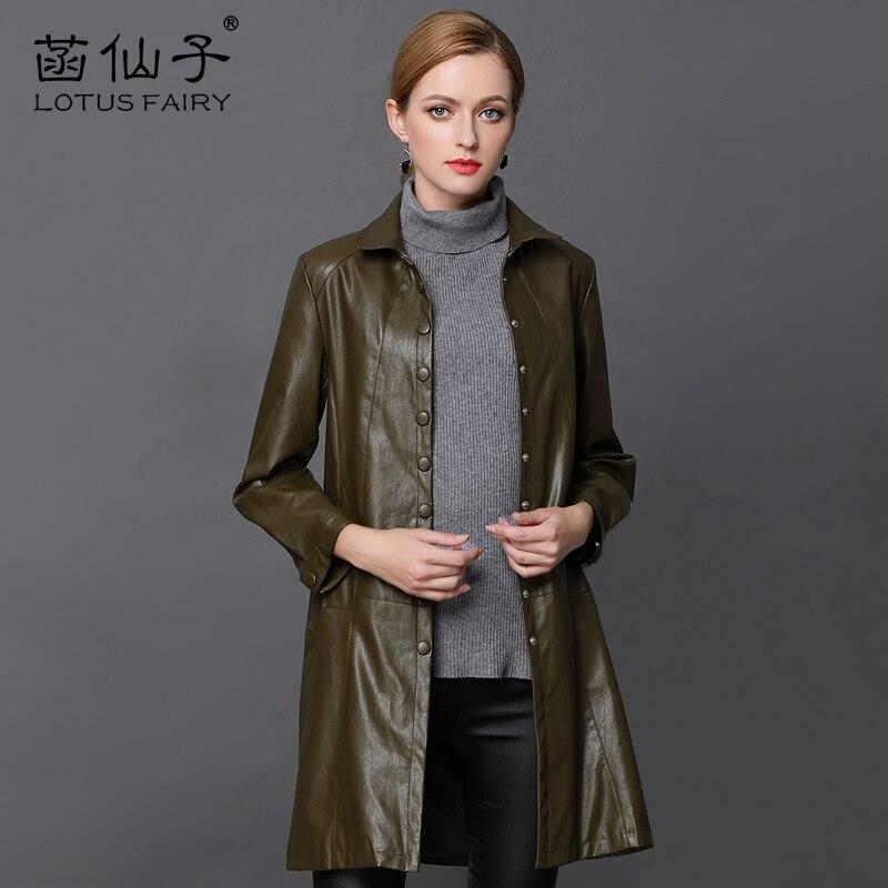 Genuine Leather X-Long Single Breasted Windbreaker Plus Size Leather Jacket Women long sleeve Slim outwear girl Motorcycle Coat