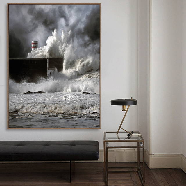 Custom Size Spectacular Ocean Storm Canvas Paintings Huge Waves Posters Prints Sea Wall Art Pictures Living Room Home