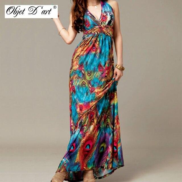 faffd47b9 الصيف خمر فستان ماكسي المرأة مثير بوهو الطاووس الأزهار طباعة السباغيتي حزام  العميق الخامس الرقبة vestidos