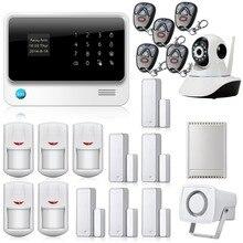 Chuangkesafe Teclado LCD Display WIFI GSM IOS Android APP Sistema de Alarma + HD Cámara IP Wireless Home Antirrobos Seguridad Relay