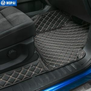 Image 3 - MOPAI araba iç aksesuarları deri paspaslar ayak pedleri kiti dekorasyon kapak Ford F150 2015 Up araba Styling