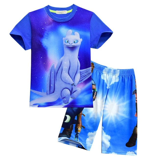 Boy Clothing Set 2018 New Cartoon How To Train Your Dragon 3 Print For Toddler