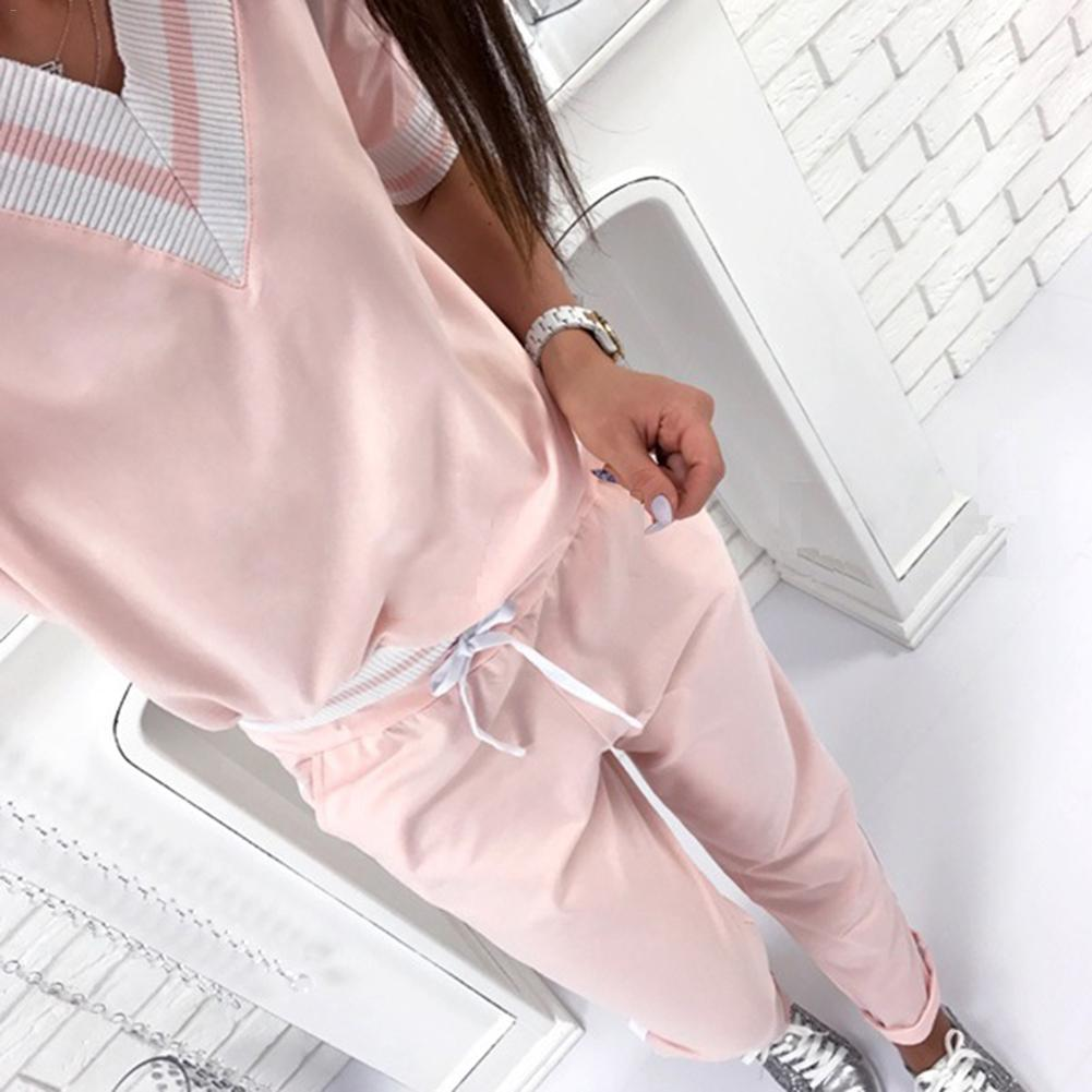 Women Sport Suit Pink Stripe Fitness Running Jogging Suit Autumn Long Sleeve V-neck Loose Gym Sweatshirt+Pants Sportswear