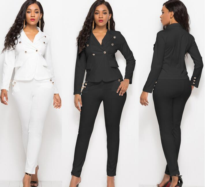 Fashion Pant Suits 2 Piece Set for Women Single Button White Black Blazer Jacket & Trouser Office Lady Suit Feminino 2018