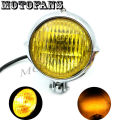 Motofans- Black/Chrome Motorcycle Headlight Yellow/White Lens for Harley Honda Yamaha Suzuki Kawasaki Triumph Victory Ducati BMW
