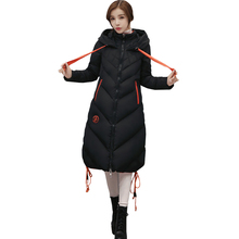 Autumn and winter new women's long coat down jacket thickening fashion Slim code With a cap warm cotton jacket