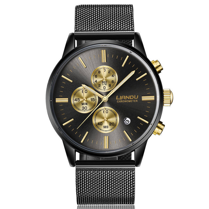 LIANDU relojes hombres cronógrafo reloj de cuarzo luminoso simulado malla de acero inoxidable relojes * 60