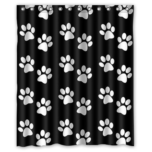 Memory Home Custom Shower Curtains Black White Dog Paw Print Waterproof Fabric Polyester Bathroom Curtain
