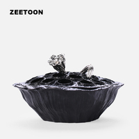 Black Zen Boutique Handmade Coarse Pottery Lotus Incense Burner Sandalwood Aroma Coil Cone Incense Holder Creative
