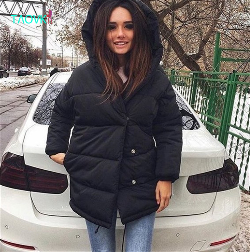 TAOVK Women Wadded Clothing women winter Hooded Cotton jacket warm coat for ladies