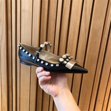 2019 summer and autumn new womens shoes silk rhinestone banquet pointed toe flat