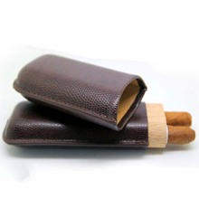 22mm Leather Humidor Portable Cigar Case Box Travel Outdoor Cigar Accessories 2 Tube Cigar Humidor Cigar Humidifier Smoking Tool