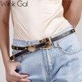 Wink Gal 2016 Estrela Da Moda Feminina Do Vintage Tira de Metal Ouro Pin Fivela Calça Jeans de Grife PU Cinto de Couro Para As Mulheres 10829