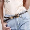 Wink Gal 2016 Fashion Female Star Vintage Strap Gold Metal Pin Buckle Jeans Designer PU Leather Belt For Women 10829