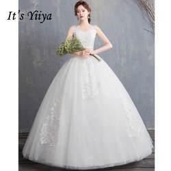 Это YiiYa Свадебные платья 2019 пайетки вышивка v-образный вырез без рукавов длиной до пола Свадебное платье Элегантное De Novia Casamento HS309