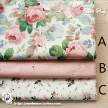 160CM*50CM chic rose cotton fabric kids baby cloth Cheongsam dress skirt baby clothes doll cloth patchwork tecidos sewing tissue