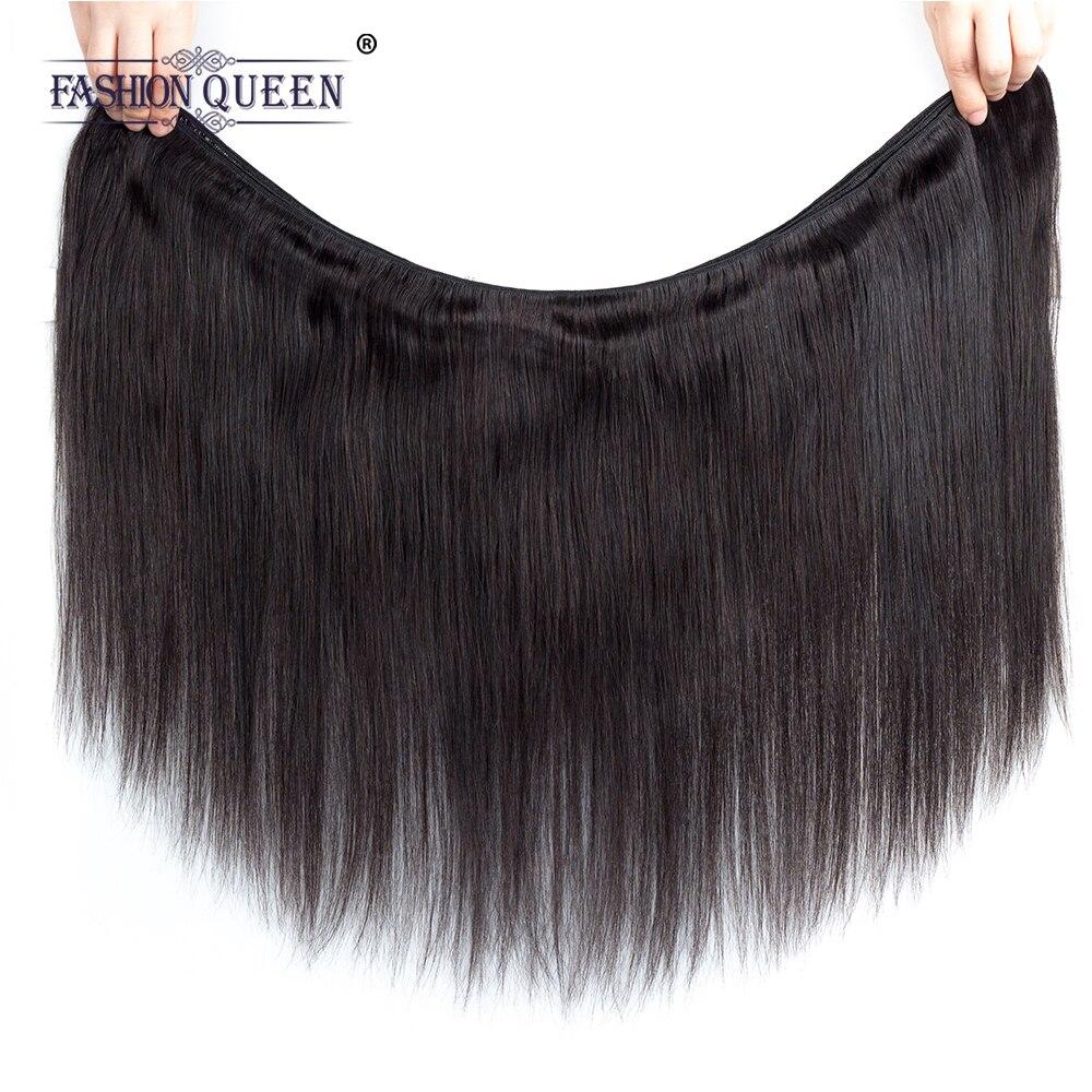 Fashion Queen Hair Human Hair Bundles With Closure Burmese Straight Hair Free Part 4*4 Lace Closure Non Remy Hair Extension