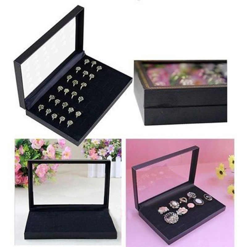 Organizador de pendientes de anillo de 36 bits, collar de terciopelo de compromiso, soporte para presentación de joyería, caja de regalo, caja de almacenamiento de pulseras, caja de joyería