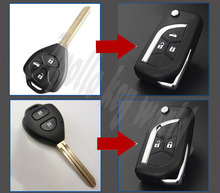 2 Buttons 3 Buttons Modified Flip Folding Remote Key Case Shell For Toyota Camry Crown Corolla