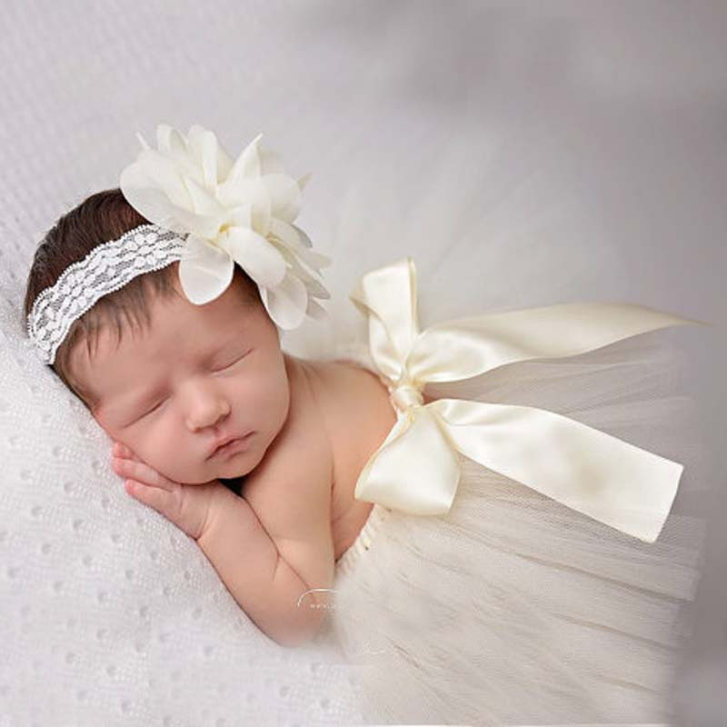Newborn Baby Girls Tulle Tutu Skirt & Flower Headband ...