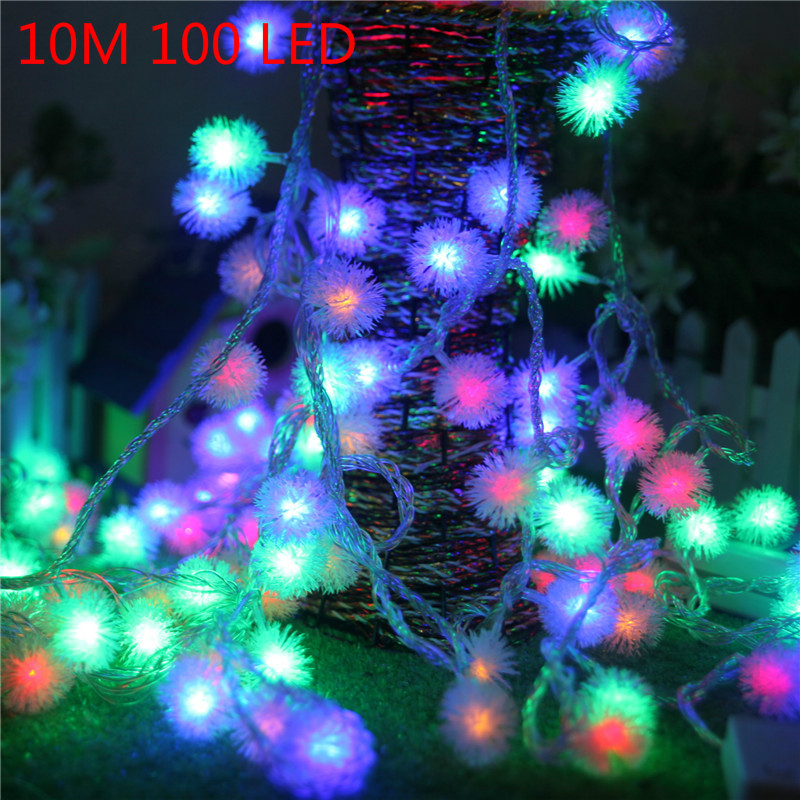 10M 100 LED Snow Ball LED String Light Lamp RGB Warm White Holiday Wedding Party Curtain Fairy Christmas Lights Decor Light 40 led grinding white ball christmastree string lights decorated colored lamp