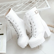 Spring and autumn new trend cross strap 10CM high heel Martin boots fashion Lolita foreign trade large size women's boots.