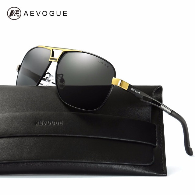AEVOGUE Polarized Sunglasses For Men Quality Metal Frame Summer Style Luxury Coating Mirror Sun Glasses With Box AE0522