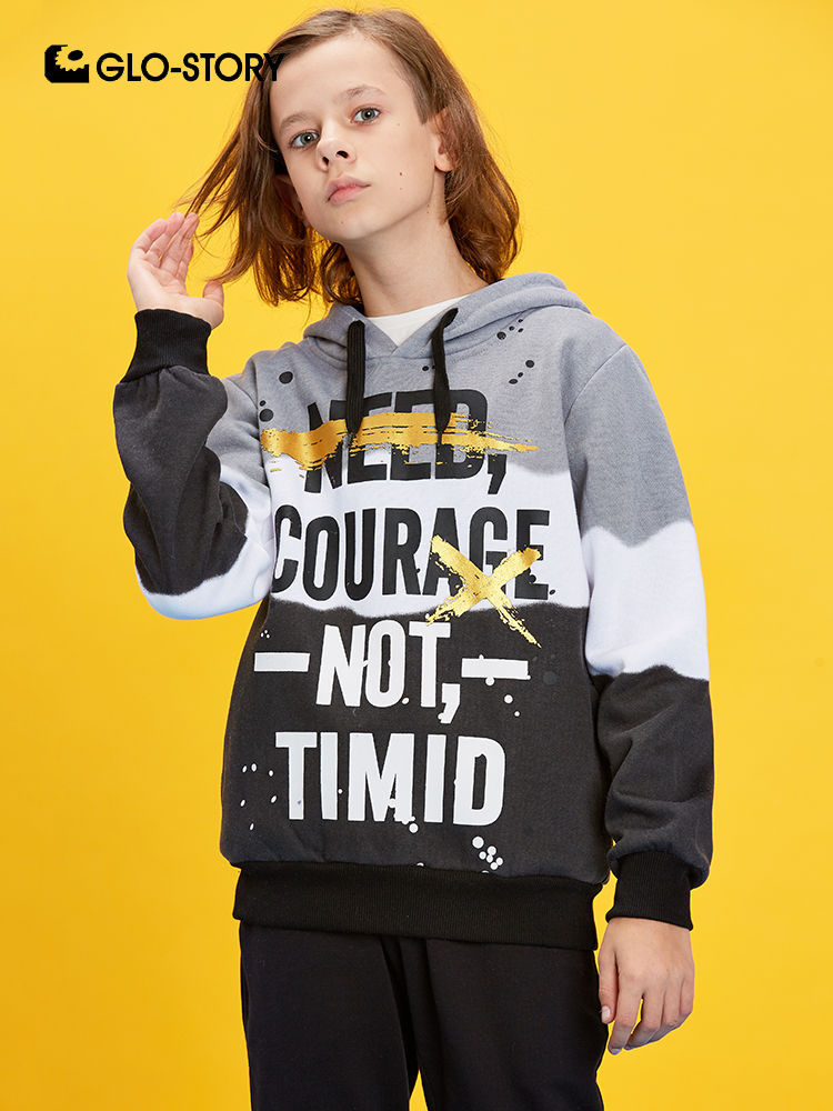 GLO-STORY 2019 New Kids Modis Spliced Letter Pullover Sweatshirt Hoodies for Boys Children Streetwear Clothes  BPU-8264