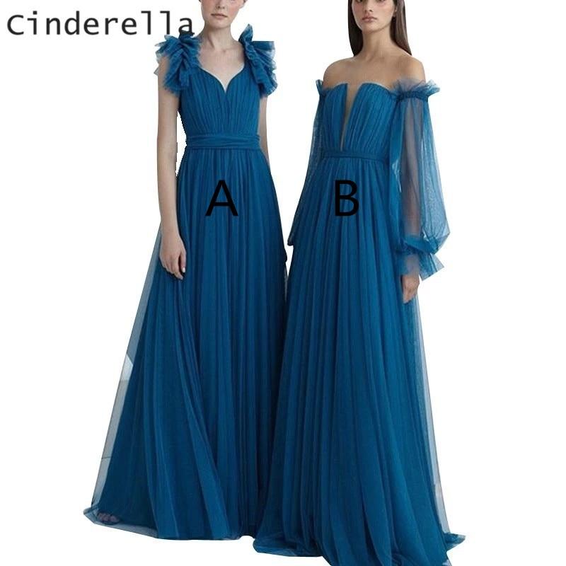 Cinderella Blue Two Style A-Line Floor Length Sweep Train Zipper Back   Bridesmaid     Dresses   Wedding Party   Dresses