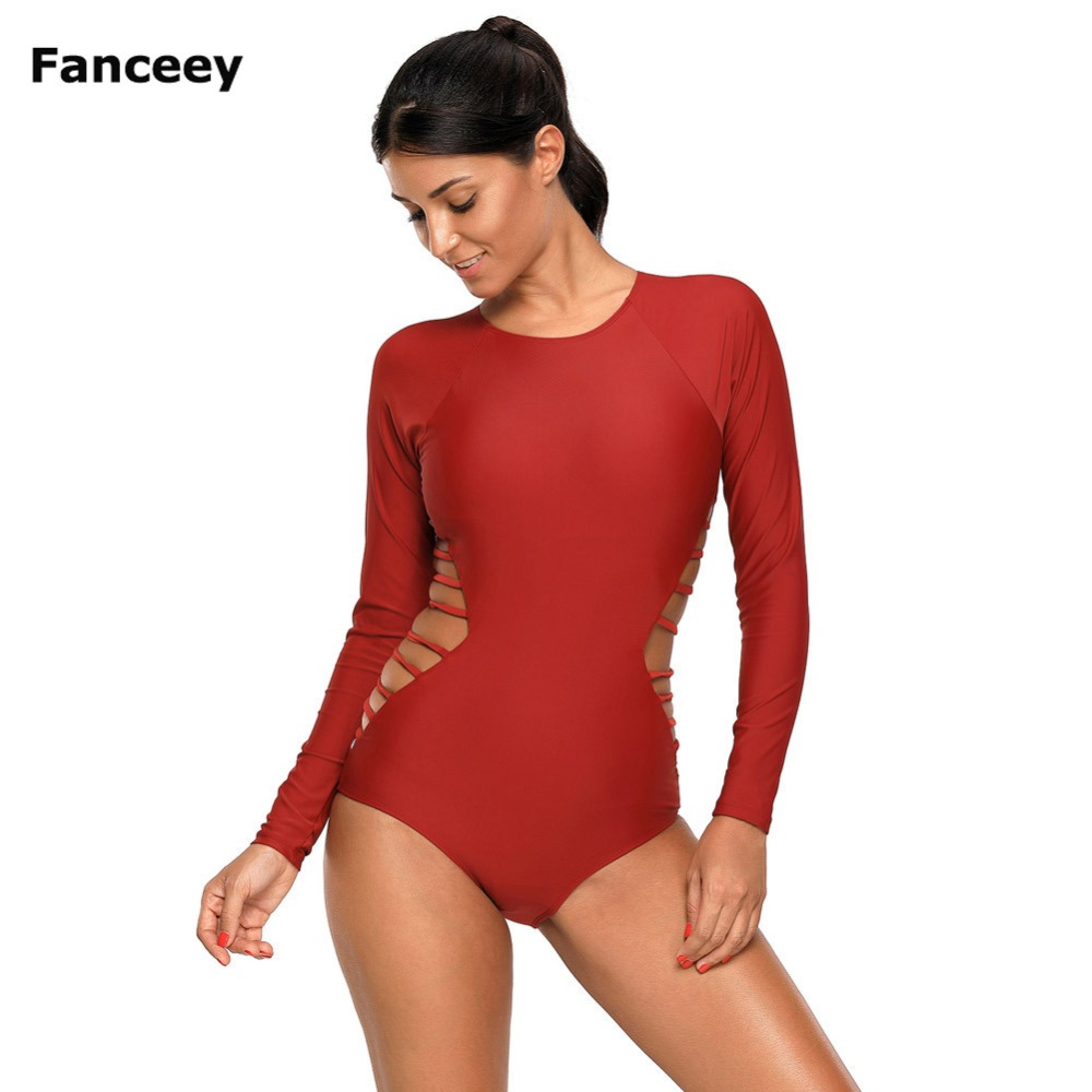 Red Long Sleeve Strappy Hollow-out One piece Surf Swimsuit Women Swimwear fashionable strappy printed cut out one piece swimsuit for women