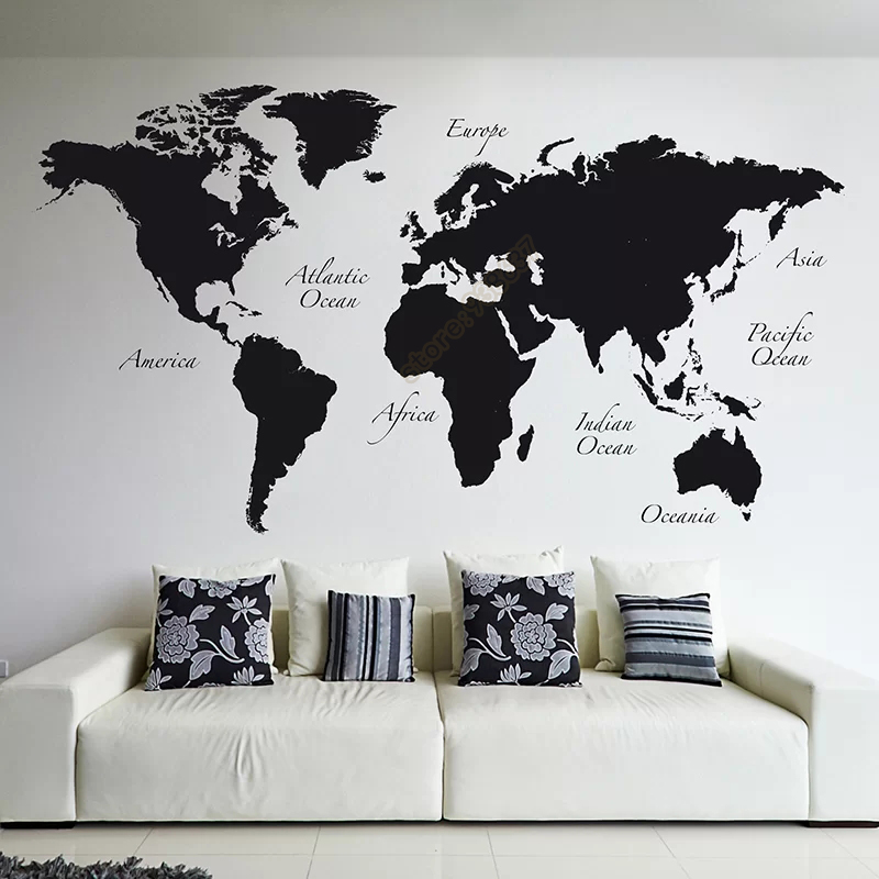 Large world map vinyl wall decal home decor living room removable large world map vinyl wall decal home decor living room removable abstract world map wall sticker for bedroom b508 in wall stickers from home garden on publicscrutiny Images