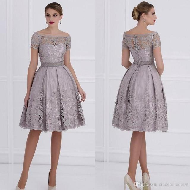 Arábia Árabe Lilás Off Ombro Mãe dos Vestidos de Noiva 2017 Lace Apliques Curto Vestidos de Festa À Noite Plus Size Do Noivo vestido