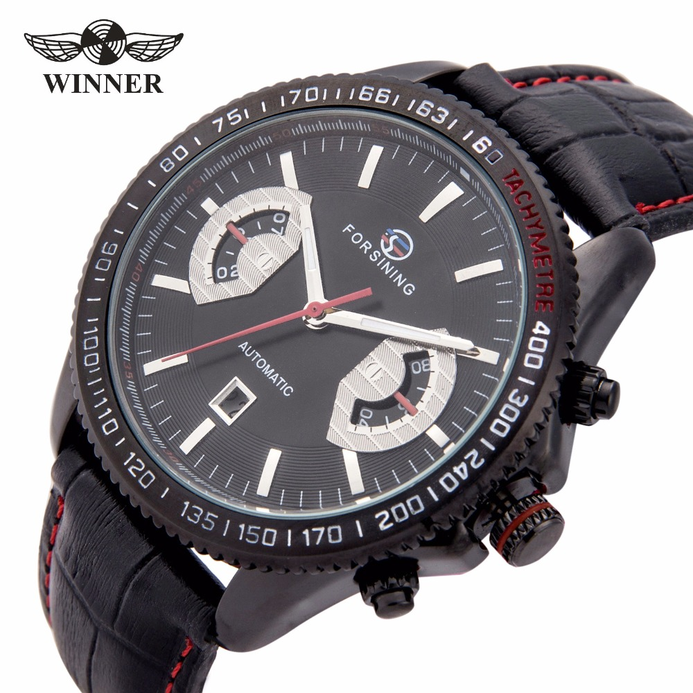 2018 WINNER Unique Men's Automatic Mechanical Watch Genuine Leather Band Calendar Display Sports Military Wristwatch for Men gucamel automatic mechanical watch hollow out design genuine leather band for men