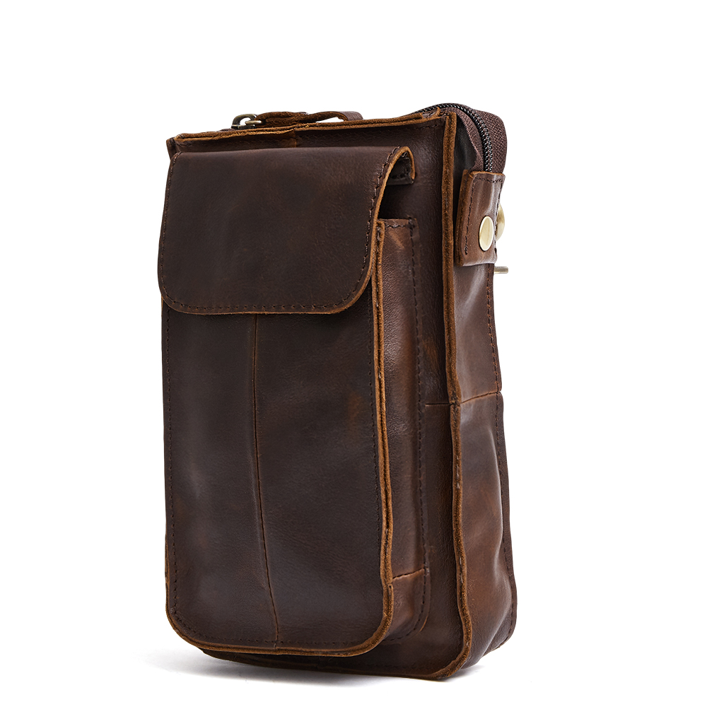 Bolsa Masculina Guaranteed 2018 New Arrivals Men Waist Bag Luxurious Cowhide Leather Man Mobile Phone Pocket Male Belt Bag Sales in Waist Packs from Luggage Bags