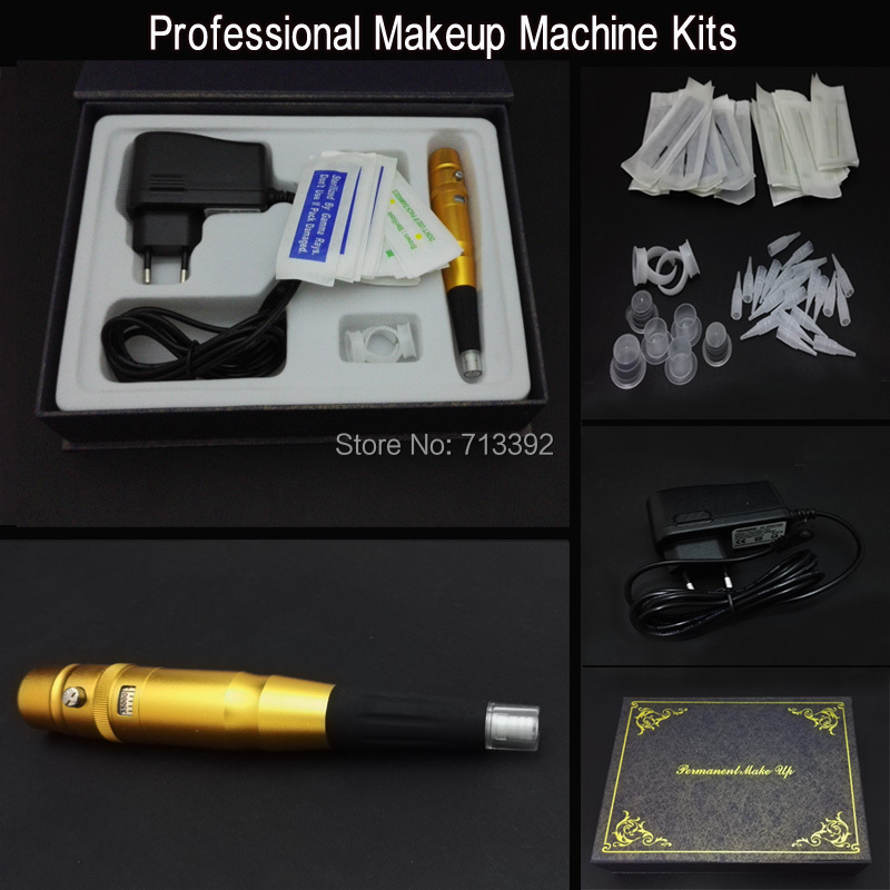 Gold Tattoo Eyebrow Pen Permanent Makeup Machine Kits Free Shipping 15pcs red professional handmade permanent makeup tattoo manual pen machine for eyebrow 50pcs blade 12 free shipping