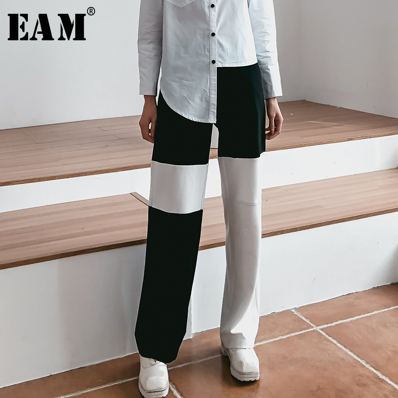 [EAM] 2019 New Spring Summer High Waist Back Hit Color Loose Brief Long   Wide     Leg     Pants   Women Trousers Fashion Tide JR198