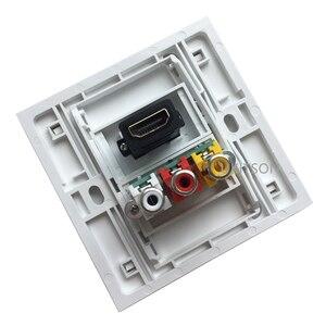 Image 4 - לבן צבע HDMI2.0 3RCA קיר פנל 86mm צלחת אודיו וידאו תקע שקע נקבה לנקבה RCA מחבר
