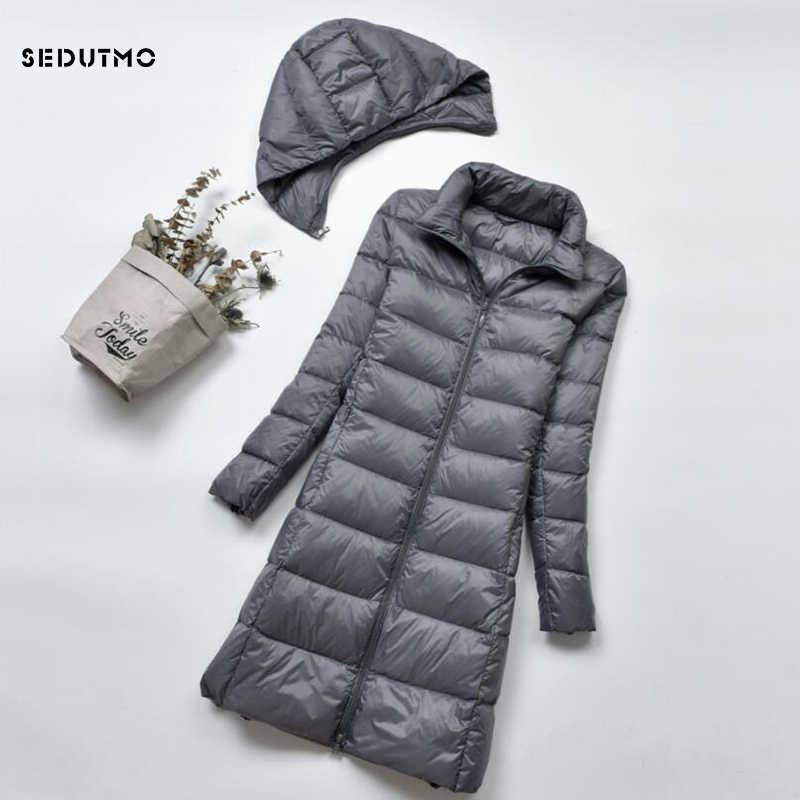 SEDUTMO, зимний пуховик размера плюс 4XL, женский пуховик, длинный, ультра-светильник, толстый пуховик на утином пуху, тонкий, Осенние парки ED522