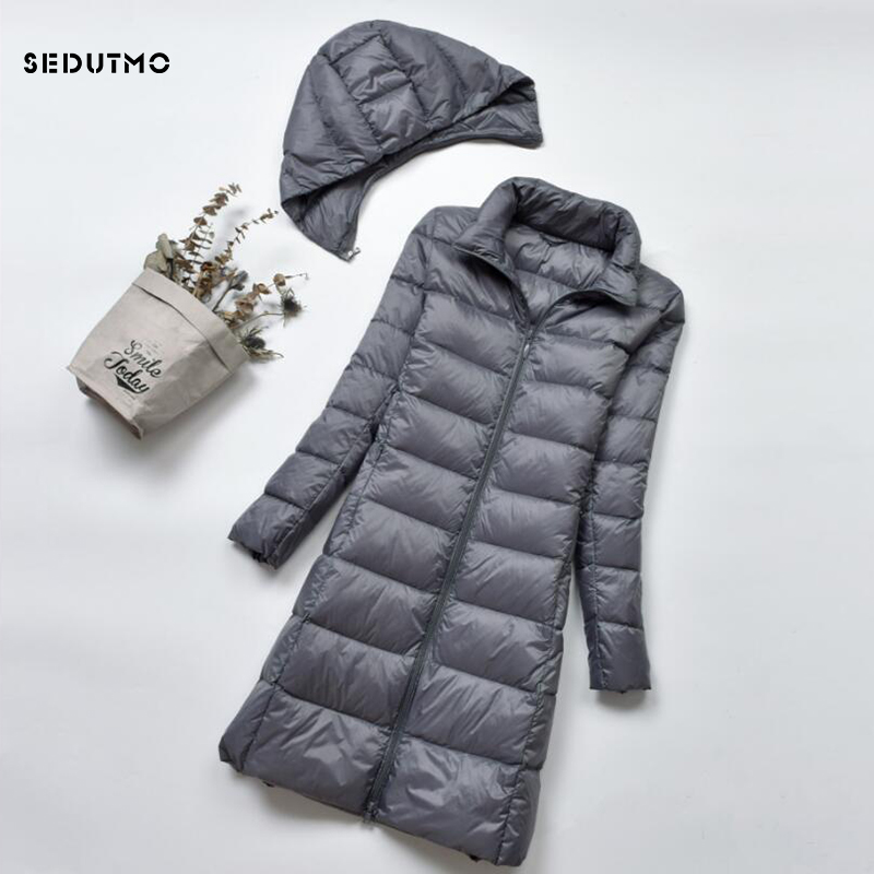 SEDUTMO Winter Plus Size 4XL Womens   Down     Coat   Long Ultra Light Thick Duck   Down   Puffer Jacket Slim Autumn Parkas ED522