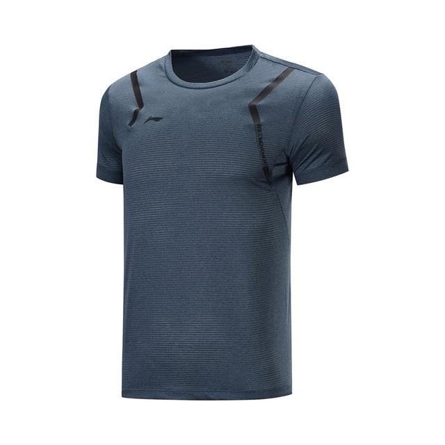 Li-ning hommes formation T-Shirts à sec respirant 100% Polyester à manches courtes doublure Li Ning confort sport t-shirt haut ATSP199 MTS3117