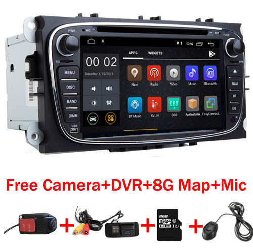 7 IPS 2 din Android 8.1 stéréo De Voiture pour Ford Mondeo C-max, S max Galaxy Wifi 3g GPS Bluetooth Radio Commande Au Volant Carte