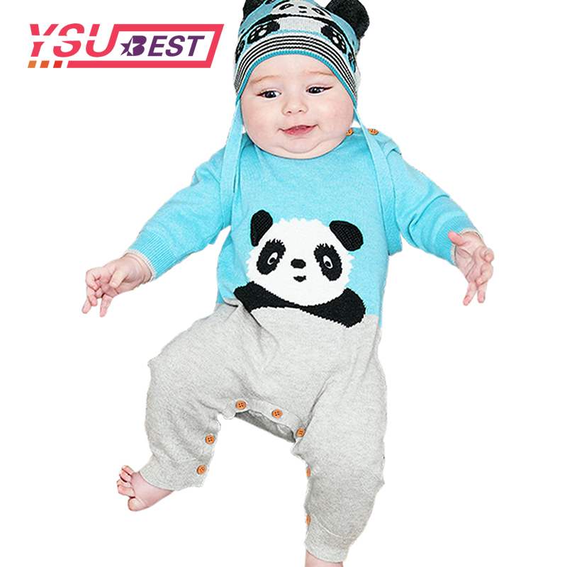Panda Baby Girl Rompers Long Sleeve Newborn Boys Bunny Jumpsuits Outfits Spring Cotton Infant Kids Onesie Cartoon Style Overalls