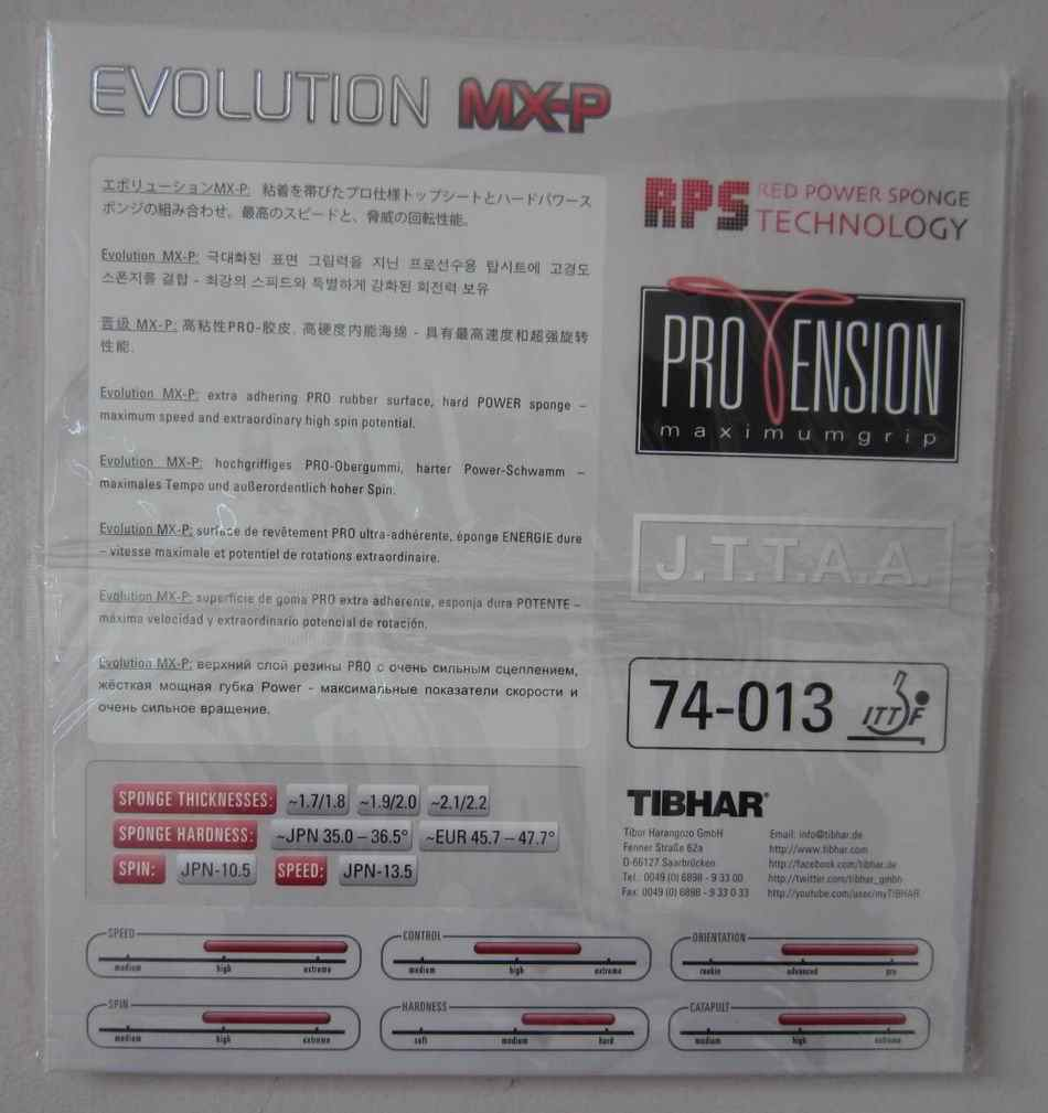 Origianl Tibhar table tennis rubber  EVOLUTION MX-P for table tennis rackets blade fast attack loop ping pong rubber