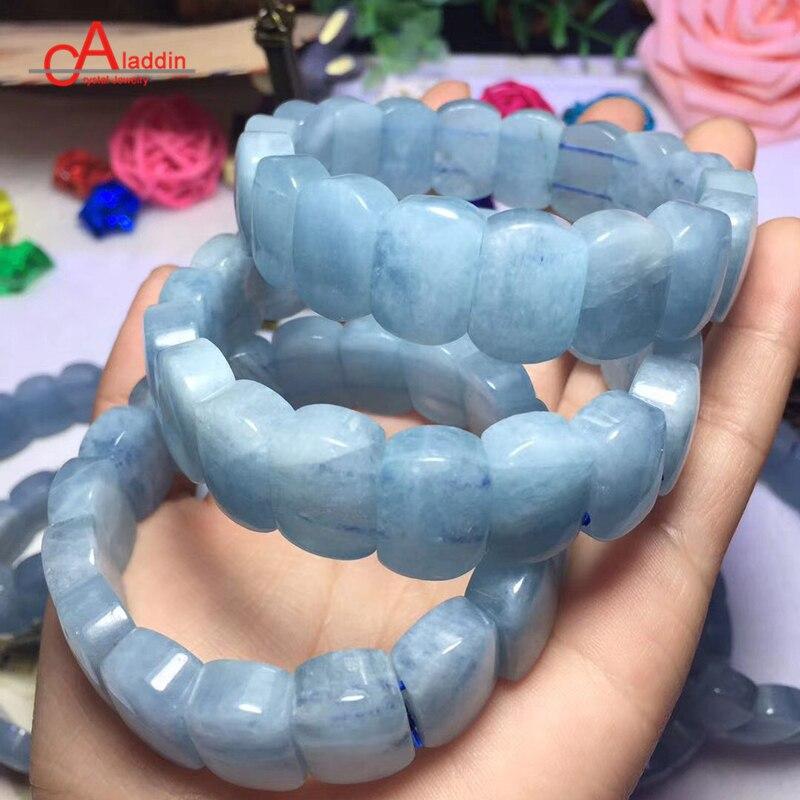 Aladdin Brand Top Natural Aquamarin Crystal Bracelet Fashion jewelry Agat Quartz Sea Blue Stone Women Bangle Add Charm gift