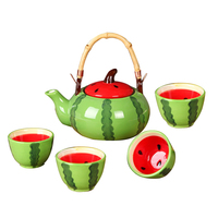 Ceramic Tea Kit Cup Set Fruit Design Teapot Drinking Mugs Creative Tea Kettle Tea Cups Lovely Gift Tableware Set 5pcs/set