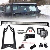 300 Вт 52 ''светодиодный свет бар + 4'' 18 Вт светодиодный свет бар + лобовое стекло и столб монтажные кронштейны комплект для внедорожного Jeep Wrangler