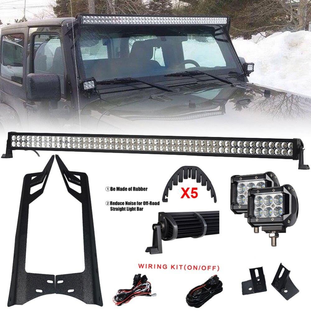 Barre de lumière LED 300 W 52 ''+ barre de lumière LED 4'' 18 W + Kit de supports de montage pour pare-brise et pilier A pour Jeep Wrangler JK 07-15
