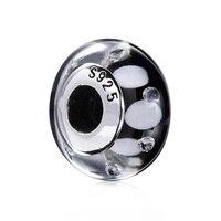 925 стерлингового серебра бисера черный и белый пузырь Стекло DIY Бусины Fit Для женщин Pandora Талисманы Браслеты ZCZ033