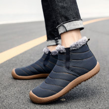 2019 Fashion Men Winter Shoes Solid Color Snow Boots Plush Inside Bottom Keep Warm Waterproof Ski Boots Size 48(China)